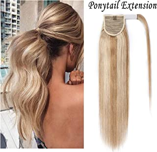S-noilite 16 Inch Wrap Around Human Hair Ponytail Extensions for Women Clip in Remy Human Hair Ponytail Hairpiece Long Straight Silky #18P613 Ash Blonde&Bleach Blonde