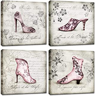 Innopics Pink Fashion Women Floral Shoes Canvas Print Flower Vintage Black and White Backgound Painting Rustic Letter Wall Art Decor Framed for Home Office Living Room Decoration 12