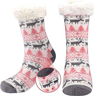 Calcetines antideslizantes para mujer, calcetines gruesos con forro polar con suela, calcetines de piso de casa de punto rosa esponjoso para mujeres niñas Navidad