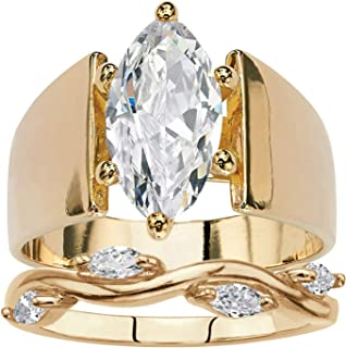 Palm Beach Jewelry 14K Yellow Gold Plated Marquise Shaped Cubic Zirconia Bridal Ring Set