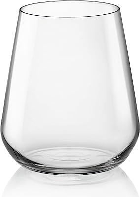 Bormioli Rocco InAlto Uno Stemless Glass, Set of 6, 15.25 oz, Clear