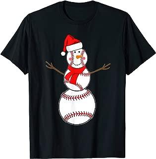 Baseball Christmas Snowman Red Santa Hat Scarf Pajama Shirt T-Shirt