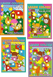 4 PACK Learn Colors with Stickers: Farm Animals, Wild Animals, My House, My School - More than 1100 stickers