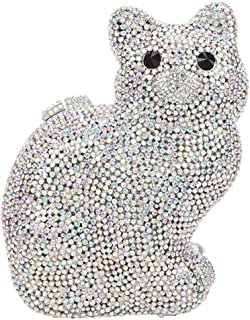 Clutches Ladies Diamante Crystals Womens-Purses Luxury Chain Evening-Bags Glitter Wedding Cat White