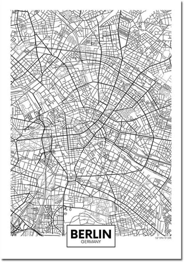 11 30 Cm X 40 Cm Leinwand Bild,Deutschland N/ürnberg Stadtplan Einfache Wandkunst Schwarz Wei/ß Poster Pop Minimalistische Malerei Modular Living Office Personalisierte Kultur Tinte Raumdekoration
