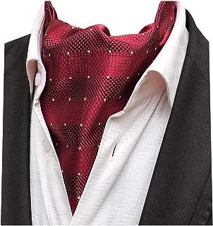 Men Purple Paisley Jacquard Woven Silk Cravat Necktie Scarf Formal Ascot