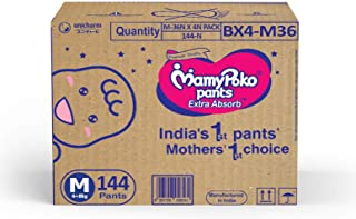 Mamypoko Jumbo Pack, Diaper Pants Extra Absorb, Size Medium, 4-8 Kg (144 Counts)