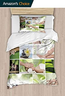 PRUNUSHOME Super Soft Breathable Bedding Spa Theme Photo Collage Composed of Different Images Home Fashions X-Long Twin