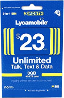 Lycamobile $23 Plan Prepaid Sim Card Include 3 Month Service (Renewed)