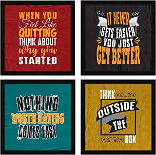 ArtX Paper Motivational Quotes Wall Art Framed Paintings, 21 X 21 inches (Combined), 10.5 X 10.5 each, Abstract, Multicolo...