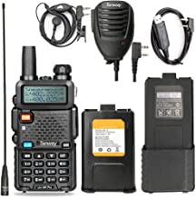 Walkie Talkie UV-5R Pro 8-Watt Dual Band Two Way Radio with one More 3800mAh Battery and Handheld Speaker Mic and NA-771 Antenna and USB Programming Cable