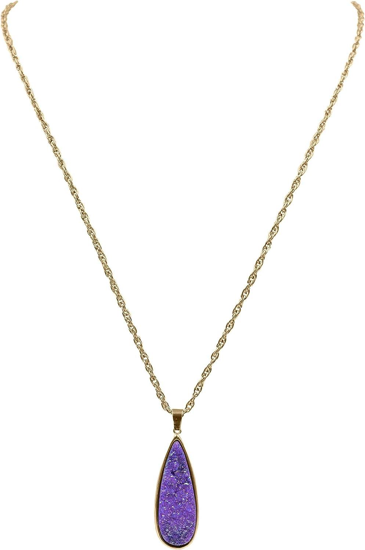 Kinsley Armelle Druzy Collection - Royal Quartz Drop Necklace