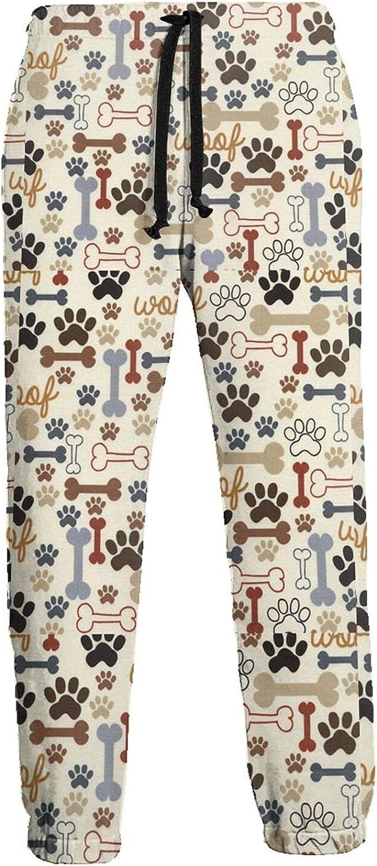 KAWAHATA Dog Bones Paw Men's Pants with Pockets Tapered Athletic Sweatpants 3D Casual Active Sports Pants
