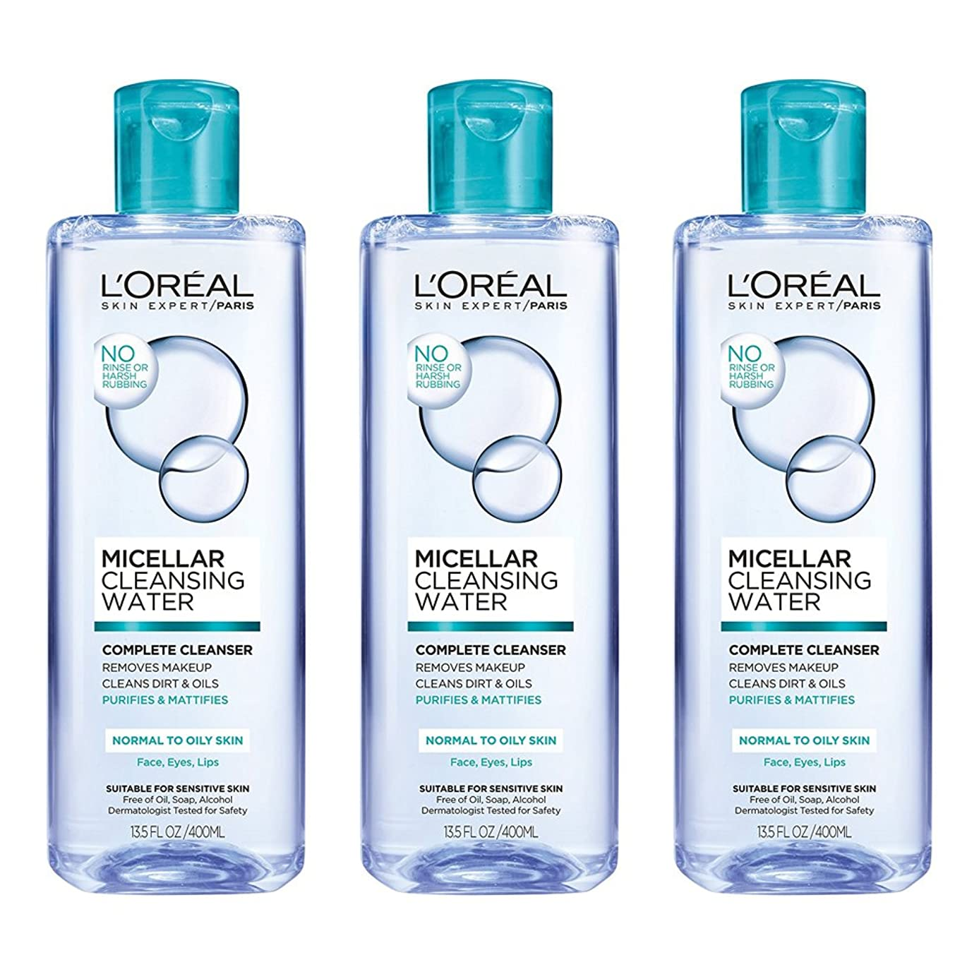 L'Oreal Paris Micellar Cleansing Water, Oily Skin Facial Cleanser & Makeup Remover, 3 count