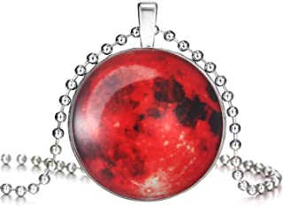 Magical Fairy Glow in The Dark Moon Bead Chain Pendant Necklace White Gold Plated