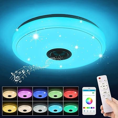 Plafonnier LED Musique, 36W Lampe Plafond avec Haut-parleur Bluetooth, Télécommande et Contrôle APP, Changement de Couleur RGB, étanche IP44, Luminaire Plafonnier pour Chambre, Salon, Cuisine (Ø 33cm)