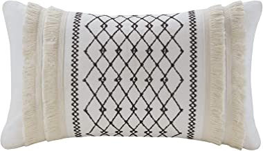 """Bea Embroidered Cotton Accent Throw Pillow , Mid-Century Geometric Fashion Oblong Decorative Pillow , 12""""W X 20""""L , I"""