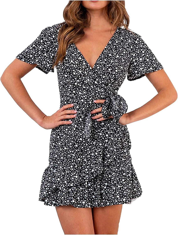 Tavorpt Dress for Womens Summer Floral Wrap V Neck Adjustable Spaghetti Casual Ruffle Boho Sundress