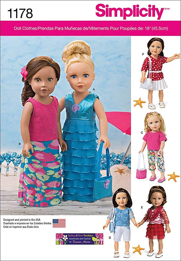 Simplicity US1178OS 18'' Doll Clothes Sewing Pattern Kit, One Size