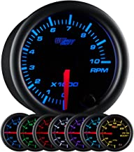 GlowShift Black 7 Color 10,000 RPM Tachometer Gauge - For 1-10 Cylinder Gas Powered Engines - Black Dial - Clear Lens - 2-1/16