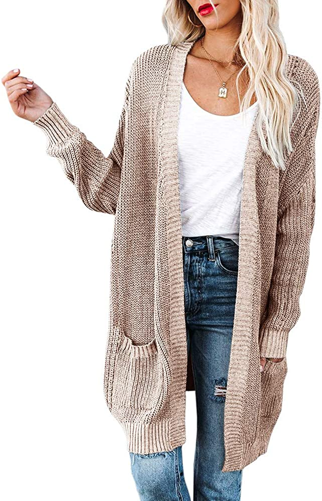Womens Plus Size Chunky Knit Sweaters Long Sleeve Open Front Cardigans Casual Plain Outerwears with Pockets