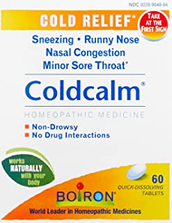 Boiron Coldcalm Cold Relief Medicine, 60 Tablets (Pack of 3). Quick-Dissolvin for Sneezing, Runny Nose, Nasal Congestion a...