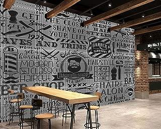 Yosot 3D Custom Vintage Wallpaper Barber Shop Elements for The Wall of The Barber Shop Sofa Living Room Wall Paper-200Cmx140Cm