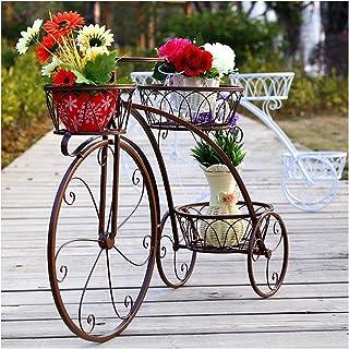 YOGANHJAT Estanteria para Macetas, Soporte para Macetas de Hierro con Diseño de Bicicleta para Decoración Exterior Interior Jardín Baño de 3 Pisos Metal Plant Stand,Marrón