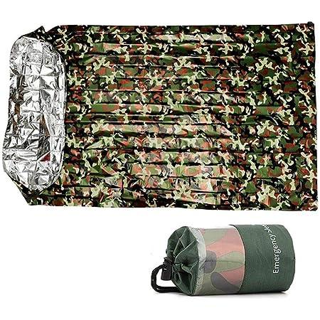 Yinxi 防災 寝袋 サバイバルシート 簡易寝袋 120*200cm エマージェンシーシート 軽量 防寒 保温 避難 アルミベッドウォーマー 繰り返し 緊急ブランケット シート 非常用キャンプ 収納袋付き