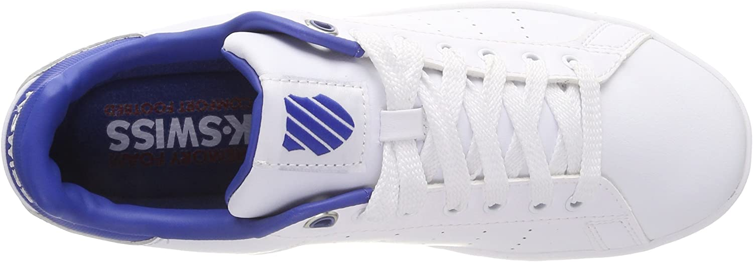 K-Swiss Men's Clean Court CMF Low-Top Sneakers White White Classic Blue White