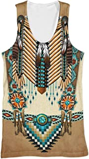 Men's Nordic Vintage 3D Digital Printing Indian Ethnic Style Summer Couples Wear Round Neck Vest Tops,Yellow a,5XL