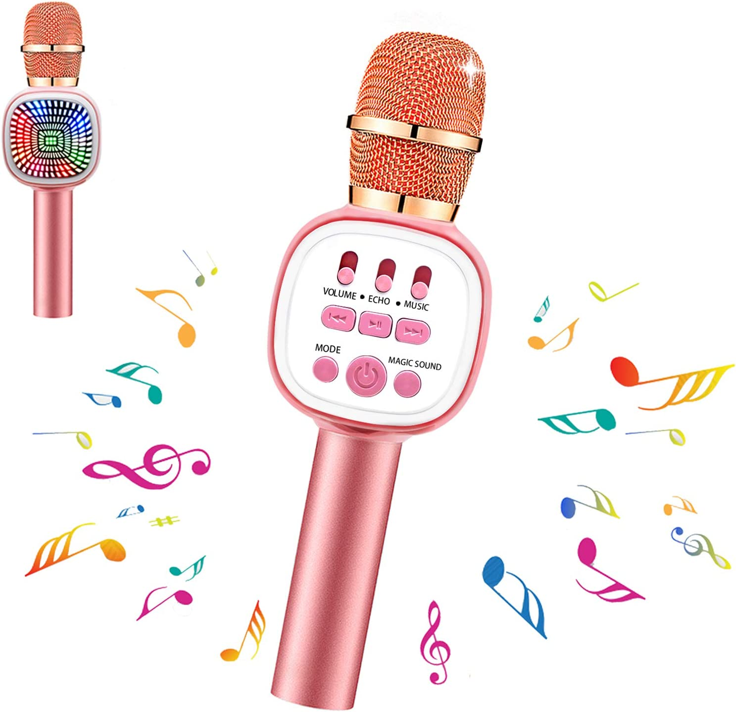 foneta Karaoke Microphone for Kids Wireless Bluetooth Microphone with LED Lights /& Voice Changer Portable Music Speaker Singing for Home Party Outdoor Gifts for Girls Boys Blue