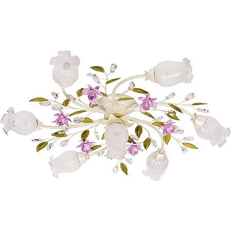 MW-Light Plafonnier floral à 7 lampes en métal couleur blanche perlée et abat-jours fleurs en verre blanc mat pour salon ou chambre 7x40W E14