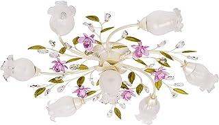Lámpara de techo con forma de flor, cristal transparente, estilo chic, diámetro de 82 cm, 7 focos, E14, 7 bombillas de 40 W, 230 V
