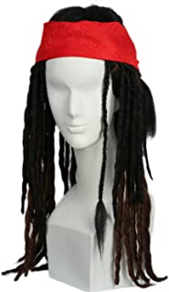 Xcoser Jack Sparrow Wig Hair Caribbean Cosplay Dreadlock Wig Costume Accessories