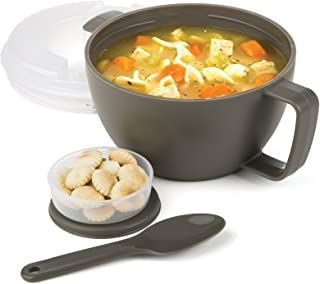 Prep Solutions by Progressive Microwave Soup On-the-Go, Gray - PS-91GY Leak-Proof, Cool-Touch Handle, Spoon Inlcuded