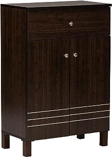 Baxton Studio Wholesale Interiors Felda Dark Brown Modern Shoe Cabinet with 2 Doors and Drawer