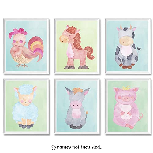 Baby Farm Rooster, Horse, Cow, Lamb, Donkey, Pig Poster Prints, Set of 6 (8x10) Unframed Pictures, Wall Art Decor Under 15 for Home, Nursery, Office, Student, Teacher, Children, Earth & Animals Fan