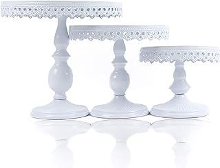 استندهای کیک فلزی گرد آنتیک 3 بسته اسکات   صفحه کیک کیک / نگهدارنده با طراحی زیبا   مناسب برای عروسی ها ، مهمانی های چای ، مهمانی های جشن تولد و جشن ها   12 ، 10 ، 8 اینچ سفید  
