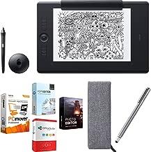 Wacom PTH860P Intuos Pro Large Paper Creative Pen Tablet, Black Bundle with Elite Suite 18 Standard Editing Software Bundle and Stylus Pen with Pocket Clip
