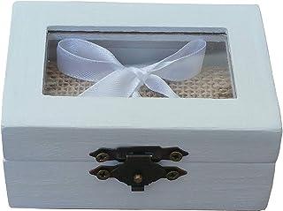 Anello Box di nozze bianche con piano in vetro, tela di iuta e nastro bianco di tenere gli anelli. ideale per matrimoni ru...