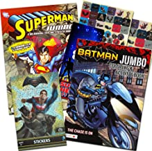 Bendon Publishing DC Comics Batman & Superman Coloring and Activity Book Set - Two 96 -Page Coloring Books, Stickers and Superhero Door Hanger