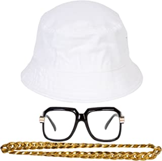 Gravity Trading 90s Hip-Hop Gold Chain Kit (Bucket Hat + Sunglass + Gold Chain)