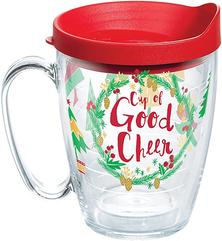 Tervis 1270660 Lid Enjoy A Cup Of Good Cheer Either Hot Or Cold Longer In An Insulated Mug Decked Out For The Holidays Red