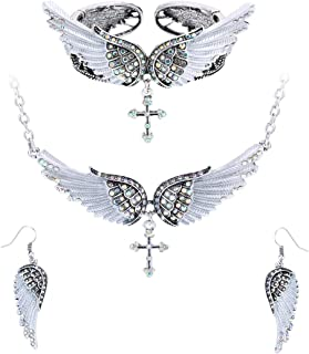 Szxc Jewelry Women's Crystal Guardian Angel Wings Cross...