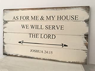 Emily As for Me and My House We Will Serve The Lord Sign Handpainted Bible Verse Sign Scripture Sign Farmhouse Decor Christian Funny Quote and Sayings Plaque Home Craft Sign