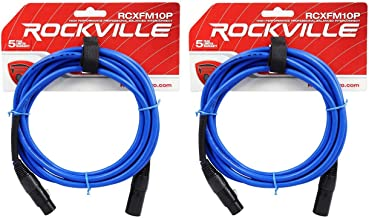 Rockville RCXFM10P-BL Blue 10' Female to Male REAN XLR Mic/Speaker Cable