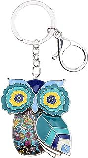 Bonsny Enamel Metal Chain Owl Key Chains For Women Car bag Charms Pendant Gifts