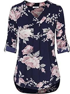 Youtalia Womens 3/4 Cuffed Sleeve Chiffon Printed V Neck Casual Blouse Shirt Tops
