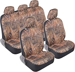 BDK Camo Car Seat Covers - Full 9 Piece Set - Waterproof Protection for Car Truck SUV Van - Camouflage (Muddy Water)